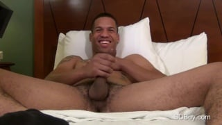 guy fingers his hole and gets a hand with his cock