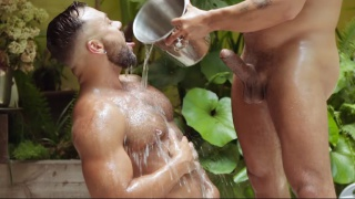 iced cum shower with Viktor Rom and Sergi Rodriguez