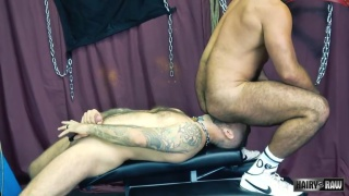 hairy hunk sits on man's face and gets horny rimjob