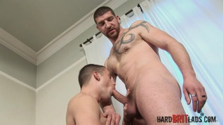 bearded french daddy fucks british lad's ass