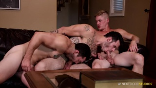 tattooed stud has first gay sex and it's a threeway
