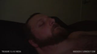 bearded man passed out and jerked off