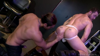 hunk in jockstrap gets his ass serviced