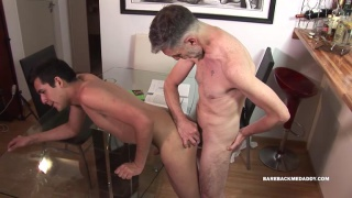 skinny daddy fucks his boy over dining room table