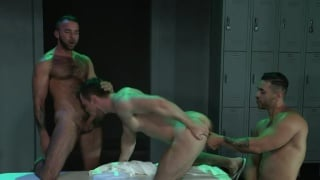 three guys hook up in bath house locker room