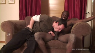 cleaner is surprised to find a big black dick waiting for him