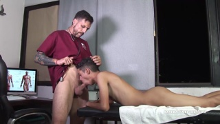 patient sucks his doctor's cock during home visit
