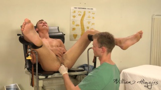 doctor checks his patient's prostate during exam