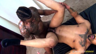 new guy sucks an experienced performer's thick cock