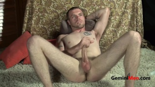 straight guy strokes his giant cock in screen test video