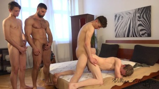 three guy cums all over one bottom