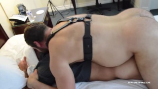 daddy and muscle bear takes turns fucking a bear's ass