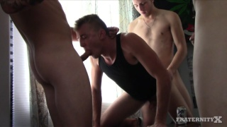gang of frat men push guy on bed and fuck him silly